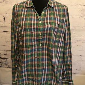 J. Crew Plaid Button Down Shirt 110% cotton sz. 14